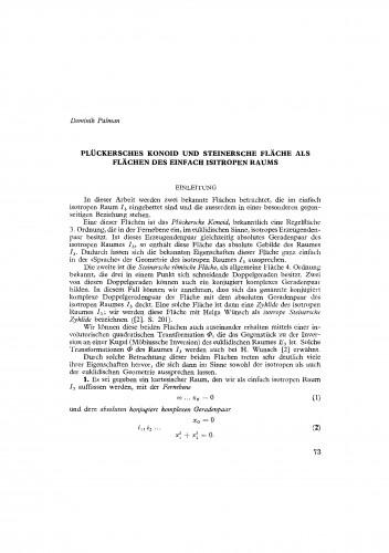 Plückersches Konoid und Steinersche fläche als Flächen des einfach Isitropen Raums