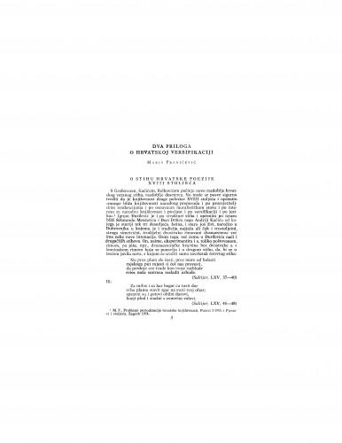 Dva priloga o hrvatskoj versifikaciji