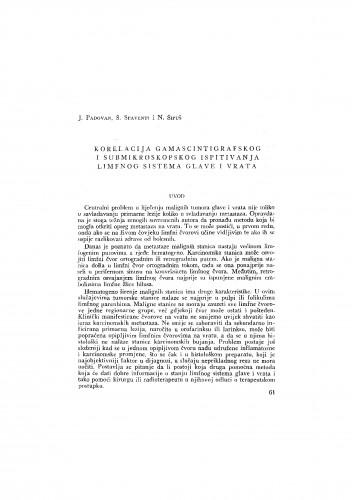Korelacija gamascintigrafskog i submikroskopskog ispitivanja limfnog sistema glave i vrata