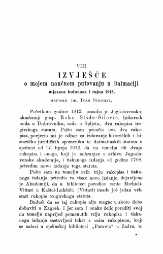 Izvješće o mojem naučnom putovanju u Dalmaciju mjeseca kolovoza i rujna 1913 / I. Strohal