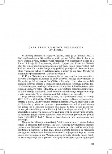 Carl Friedrich von Weizsäcker (1912.-2007.) : [nekrolog] : Ljetopis