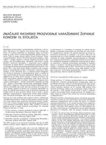 Značajke ratarske proizvodnje varaždinske županije koncem 19. stoljeća