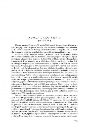 Adolf Dragičević (1924.-2010.) : nekrolog : Ljetopis