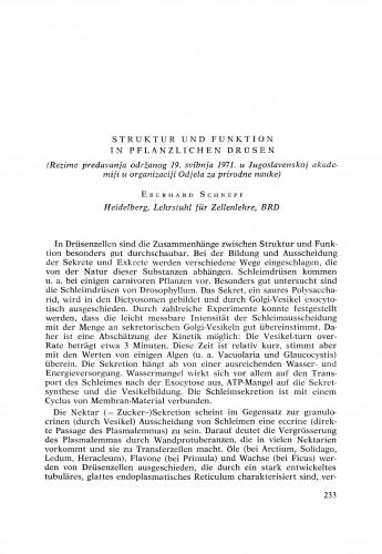 Struktur und Funktion in pflanzlichen Drüsen : [izvještaji i rasprave] / E. Schnepf