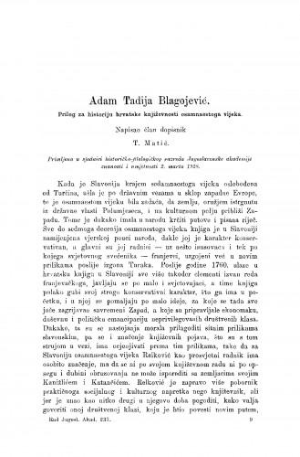 Adam Tadija Blagojević. Prilog za historiju hrvatske književnosti osamnaestoga vijeka