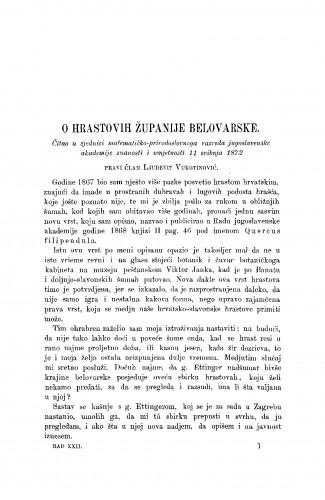 O hrastovih županije belovarske : RAD
