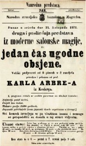Druga i posliednja predstava  iz moderne salonske magije, ili jedan čas ugodne obsjene veliki podpouri od 8 piecah u 2 razdjela / priredjen i prikazan od prof. Karla Arbre-a iz Kodanja