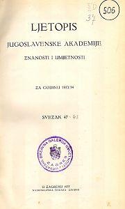 Za godinu 1933/34. Sv. 47 : Ljetopis