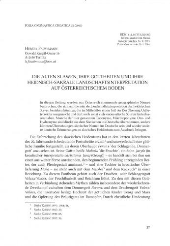 Die alten Slawen, ihre Gottheiten und ihre heidnisch-sakrale Landschaftsinterpretation auf österreichischem Boden : Folia onomastica Croatica