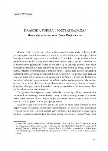 Dramska forma i poetski sadržaj : marginalije uz dramu Vesne Parun Marija i mornar : Krležini dani u Osijeku