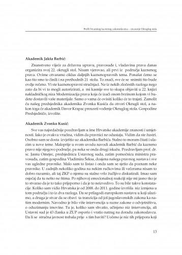 Otvaranje Okruglog stola : Modernizacija prava