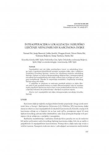 Intraoperacijska lokalizacija i kirurško liječenje nepalpabilnih karcinoma dojke