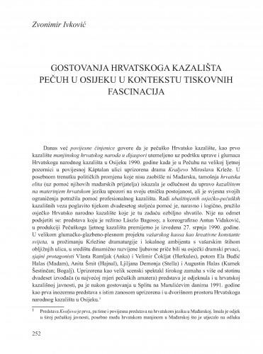 Gostovanja Hrvatskoga kazališta Pečuh u Osijeku u kontekstu tiskovnih fascinacija : Krležini dani u Osijeku