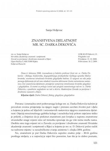 Znanstvena djelatnost mr. sc. Darka Dekovića : Problemi sjevernog Jadrana