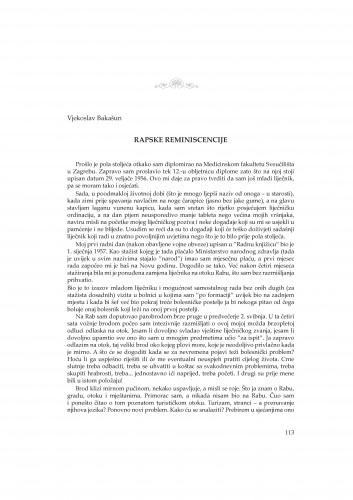 Rapske reminiscencije : Rasprave i građa za povijest znanosti