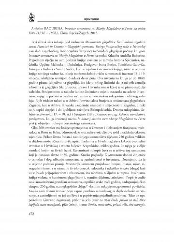 Anđelko Badurina, Inventar samostana sv. Marije Magdalene u Portu na otoku Krku (1734.-1878.), Glosa, Rijeka-Zagreb, 2013. : [prikaz] : Radovi Zavoda za povijesne znanosti HAZU u Zadru