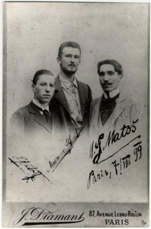 Fotografija prijatelja dan nakon Matoševa dolaska u Pariz: Leon Matoš, Alfred Makanec, Antun Gustav Matoš