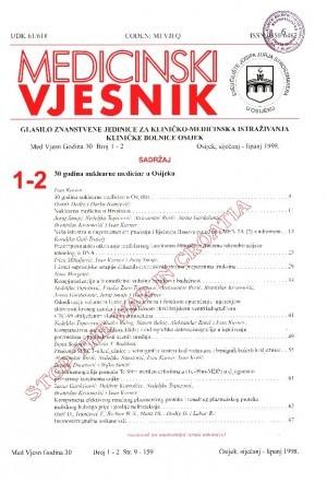 God. 30, br. 1-2(1998) : Medicinski vjesnik
