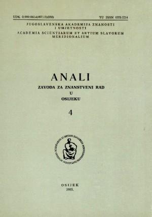 Knj. 4(1985) : Anali Zavoda za znanstveni i umjetnički rad u Osijeku
