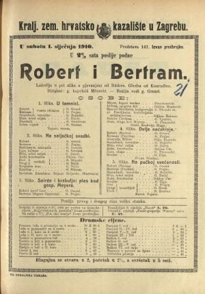 Robert i Bertram : Lakrdija u pet slika s pjevanjem / od Rädera