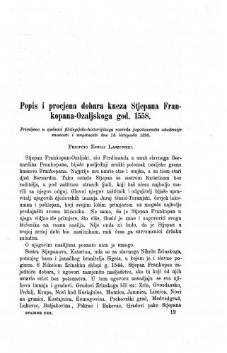 Popis i procjena dobara kneza Stjepana Frankopana-Ozaljskoga god. 1558. / Emilije Laszowski