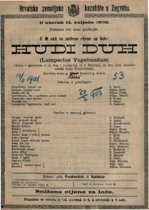 Hudi duh (Lumpacius Vagabundus). gluma s pjevanjem u tri čina i predigrom / od I. Nestroya