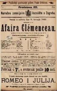Affaire Clemenceau : Igrokaz u 5 čina / od A. Dumasa i A. d. Artisa