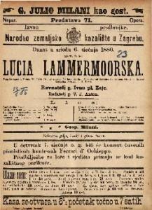 Lucia Lammermoorska Tragička opera u 3 čina / Glasba od Chaetano Donizetta