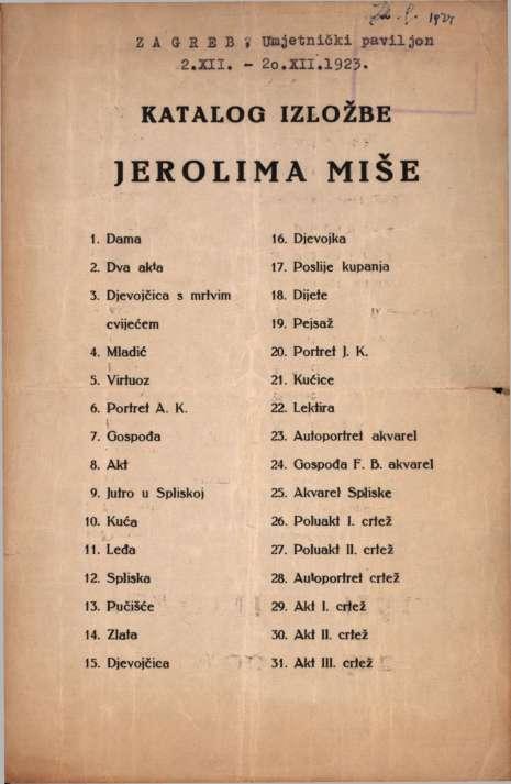 Katalog izložbe Jerolima Miše