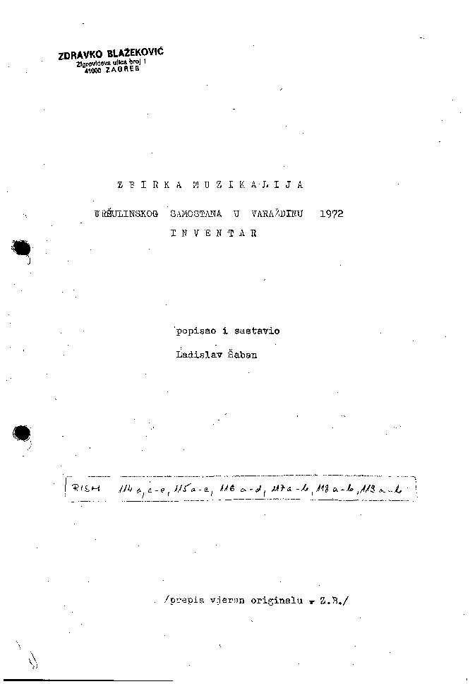 Zbirka muzikalija Uršulinskog samostana u Varaždinu inventar / popisao i sastavio Ladislav Šaban