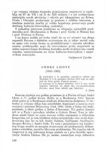 Andre Lhote : Bulletin Zavoda za likovne umjetnosti Jugoslavenske akademije znanosti i umjetnosti
