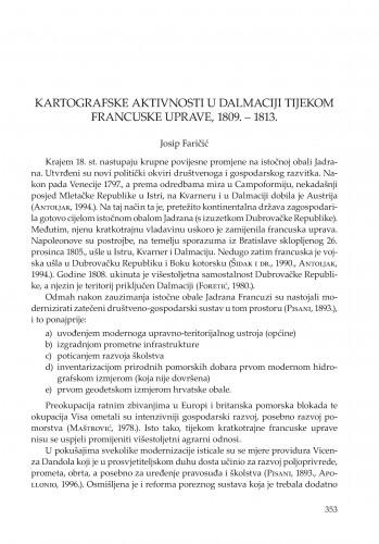 Kartografske aktivnosti u Dalmaciji tijekom francuske uprave, 1809.-1813.