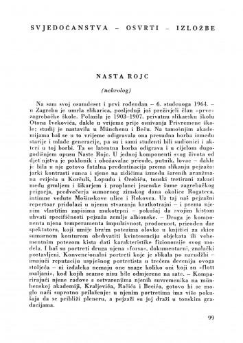 Nasta Rojc (Nekrolog) : Bulletin Zavoda za likovne umjetnosti Jugoslavenske akademije znanosti i umjetnosti