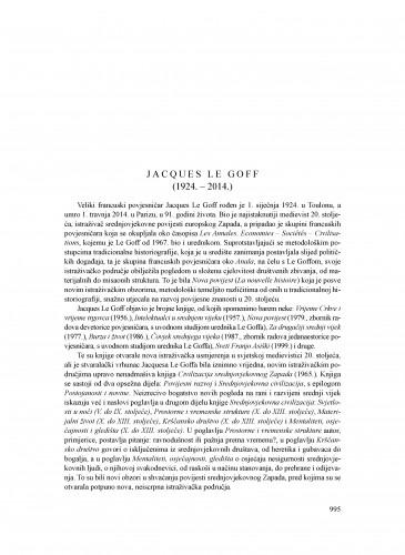 Jacques Le Goff (1924.-2014.) : [nekrolog] : Ljetopis