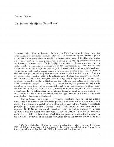 Uz Stičnu Marijana Zadnikara : Bulletin Razreda za likovne umjetnosti Jugoslavenske akademije znanosti i umjetnosti
