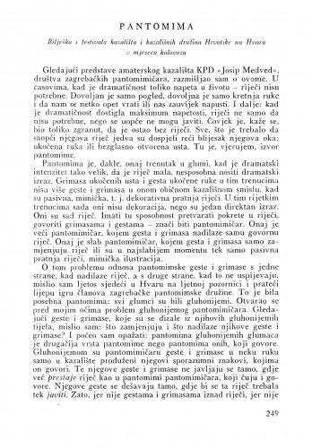 Pantomima : Bulletin Instituta za likovne umjetnosti Jugoslavenske akademije znanosti i umjetnosti