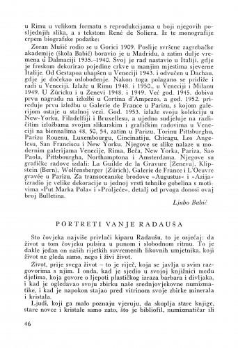 Portreti Vanje Radauša : Bulletin Instituta za likovne umjetnosti Jugoslavenske akademije znanosti i umjetnosti