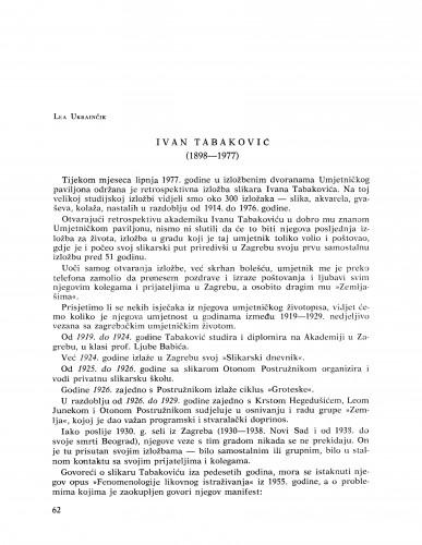 Ivan Tabaković : (1898-1977) : Bulletin Razreda za likovne umjetnosti Jugoslavenske akademije znanosti i umjetnosti
