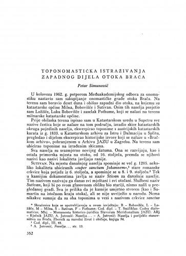 Toponomastička istraživanja zapadnog dijela otoka Brača / P. Šimunović