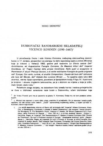 Dubrovački ranobarokni skladatelj Vicenco Komnen (1590-1667)