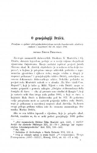 O genejalogiji Držićâ
