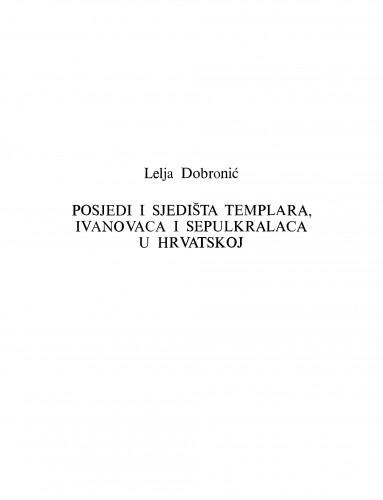 Posjedi i sjedišta templara, ivanovaca i sepulkralaca u Hrvatskoj
