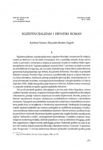 Egzistencijalizam i hrvatski roman