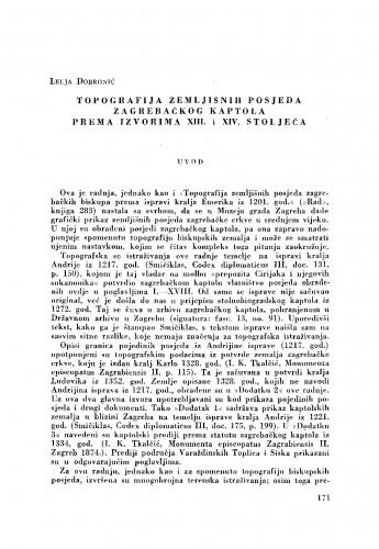 Topografija zemljišnih posjeda zagrebačkog kaptola prema izvorima XIII. i XIV. stoljeća