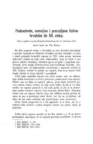 Podmetnute, sumnjive i prerađene listine hrvatske do XII. vieka : RAD