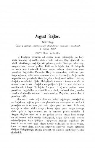 August Šlajher : nekrolog : RAD