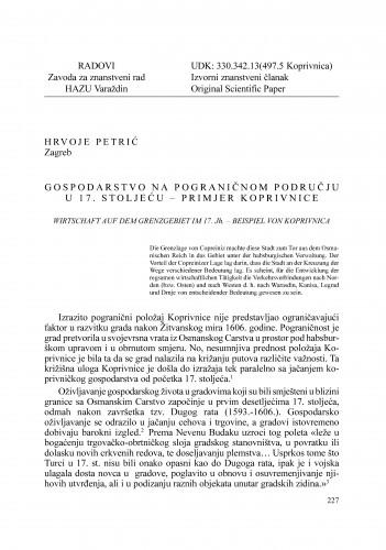 Gospodarstvo na pograničnom području u 17. stoljeću - primjer Koprivnice : Radovi Zavoda za znanstveni rad Varaždin