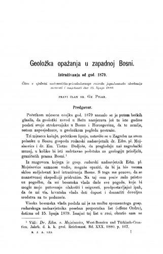 Geoložka opažanja u zapadnoj Bosni