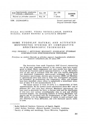 Some Yugoslav natural and activated bentonites studied by comparative spetroscopic techniques