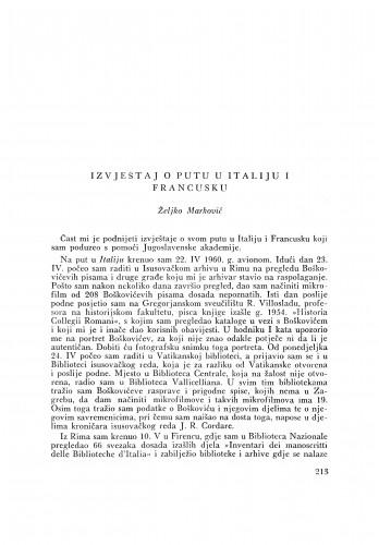 Izvještaj o putu u Italiju i Francusku / Ž. Marković